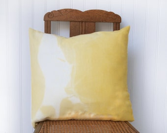 Drifter cushion cover in a French vintage metis linen, hand dyed, yellow and white, euro sham 18x18 inches