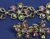 Vintage Signed Coro Bracelet and Earrings Set-Vintage Coro Rhinestone Jewelry Set