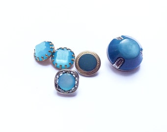 5 Blue, Silver & Gold Metal Vintage Buttons