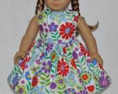 Handmade White Summer Flowers Print Dress Fits American Girl Doll