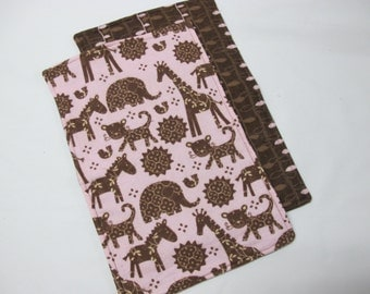 Girl baby burp cloths in brown and pink