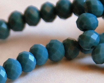 20 pcs 6x4mm Opaque Blue Grey Faceted Rondelle Glass Crystal Beads