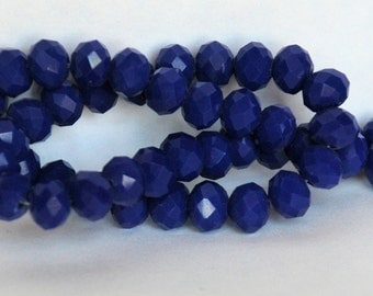 12 pcs 10x8mm Opaque Dark Blue Rondelle Glass Crystal Beads