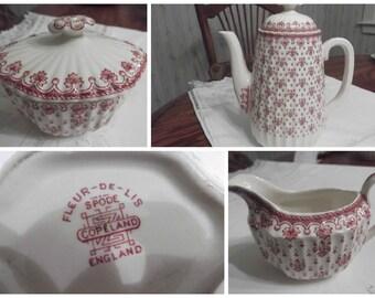 Spode Coffee/Tea Set; 5pc Fleur De Lis In The Red Pattern  circa 1955-1973    962
