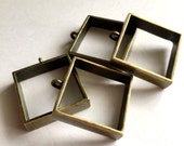 6pcs  25mm Antiqued Bornze  Color Plated Metal Square  Resin Dipped Frame/Pendat/Charm