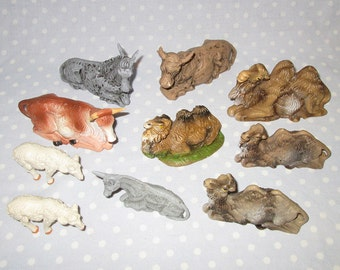 Vintage Italy Nativity Animals Camel Donkey Sheep Cow Bull - Lot of 10 - Some Depose with Spider Mark