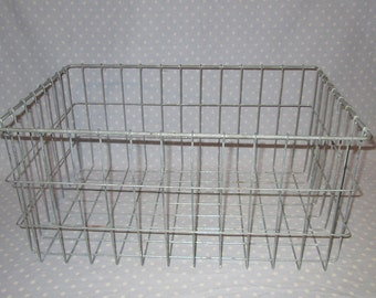 Large rectangle Wire Basket - Industrial Storage - Locker Room