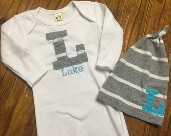 Newborn Gown - Personalized Newborn Gown and Hat Set - Personalized Gown - Newborn Boy