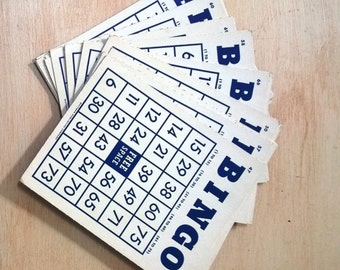 Set of 5 Vintage Navy Blue and White Bingo Cards