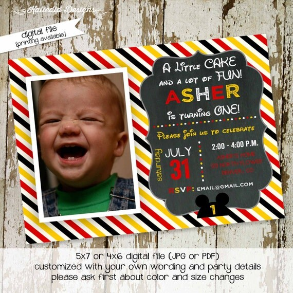 mickey mouse birthday invitation disney baby shower diaper shower baby sprinkle ears announcement baptism (item 243) shabby chic invitations