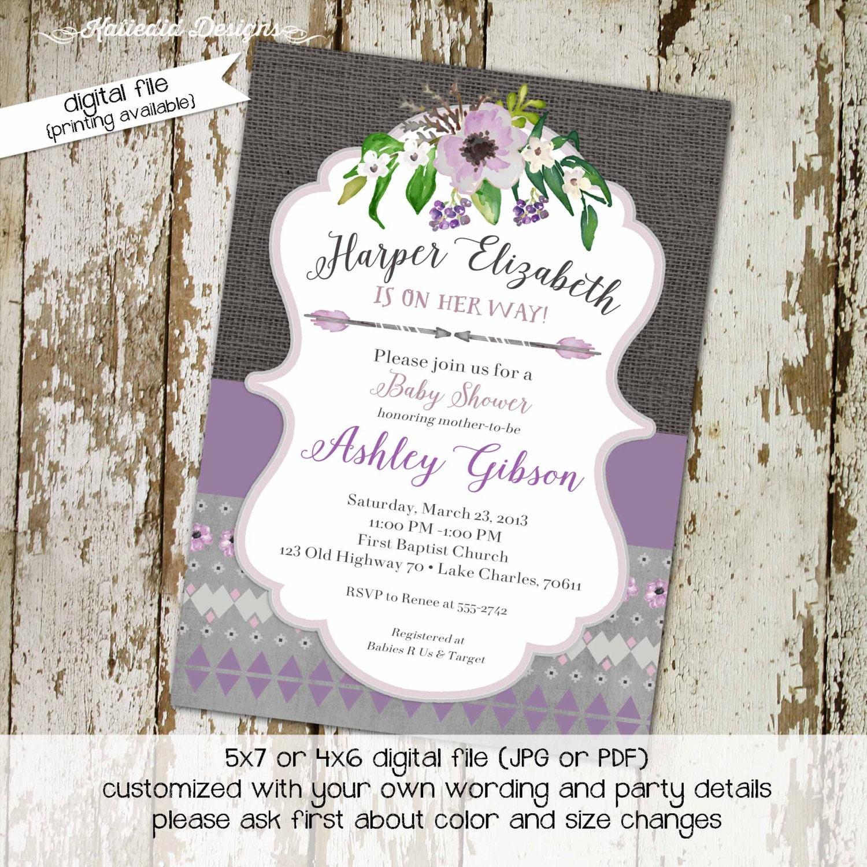 Rustic Baby Girl Shower Invitation Boho Tribal Sprinkle Floral Chic Invite Purple Gray 1308 Katiedid Cards