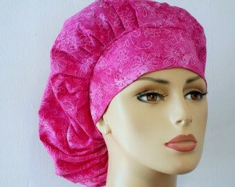 Scrub Hats Surgical Bouffant Scrub Hat Pink Butterflies Flowers and Swirls