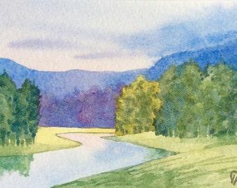 ACEO Original watercolor painting - Emerald valley