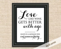 Love, Like Wine Gets Better With Age - Guest Book Wedding Sign - Printable DIY 8x10 Sign - Wedding Reception Well Wishes