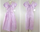 Vintage 1950s Skirt and Jumpsuit Set / Purple Gingham / Lounge Wear / NWT / Small Medium