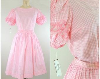 Vintage 1950s Dress / Pink Gingham Dress / Party Dress / Cotton Dress / NWT / Medium