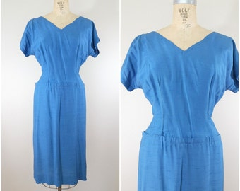 Vintage 1960s Dress / Blue Silk Linen / Shift Dress / 60s Shift / Large