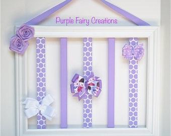 Accessories Organizer Picture Frame - White, Lavender, Polka Dots, Swirls, Lilac, Purple, Hooks (Hair Bow & Headband Holder) Baby Girl, Teen
