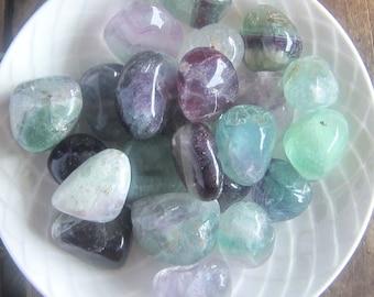 Rainbow Fluorite - 3 STONES - gemstones witchcraft supplies wicca wiccan crystals gemstones pagan magick metaphysics altar tools