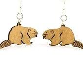 Beavers for your ears - Laser Cut Wood Earrings