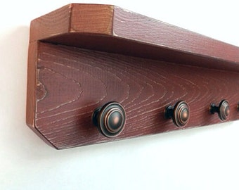 Barn Red Primitive Wall Shelf with Bronze knobs, Shabby Chic