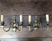 Vintage French brass metal wall mount sconces candle lighting lamps light fittings circa 1950-60's / English Shop