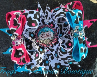 Leopard Personalized Name Bottlecap Hairbow
