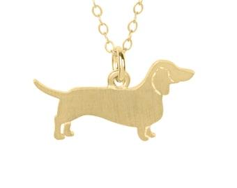 Dachshund Fullbody necklace, Dachshund charm, Dachshund jewelry - Solid 14k Yellow Gold dog necklace, dog charm pet memorial gift