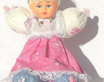 Renee, OOAK cute Caucasian breast cancer awareness Pink Ribbon doll