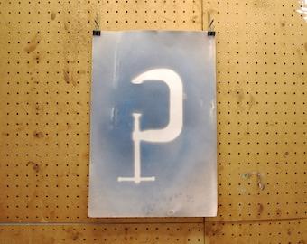 Man Cave Art, cyanotype, tool print, tools