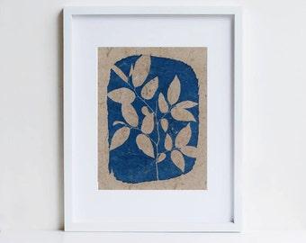 Botanical print, cyanotype, pressed leaf art, handmade paper
