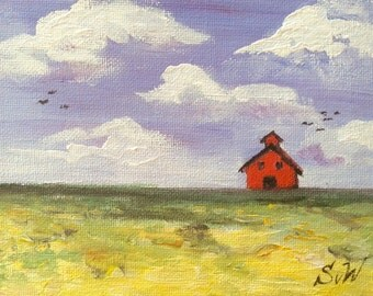 Red Barn Scenery Landscape original painting 5 x 7""
