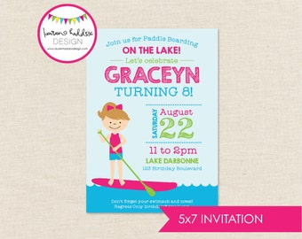 Paddle Boarding Birthday Invitation, Paddle Boarding Invitation, Paddle Boarding Printables, Paddle Boarding Party, Lauren Haddox Designs