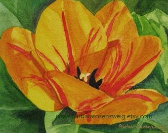 Flower Art, Yellow Tulip Painting, Tulip Print, Tulip Watercolor, Tulip Wall Art, Flower Print, Flower Home Decor, Mom Gift, Flower Wall Art