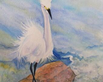 Bird Painting, Bird Watercolor, Beach Bird Art, Egret Painting, Bird Wall Art, Egret Watercolor, Beach Wildlife Art, Seashore Decor Art Gift