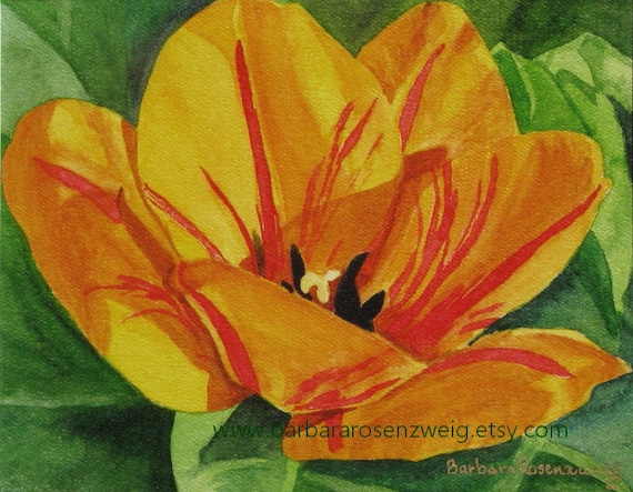 Flower Art, Yellow Tulip Painting, Tulip Print, Tulip Watercolor, Tulip Wall Art, Flower Print, Flower Home Decor, Mom Gift, Flower Wall Art