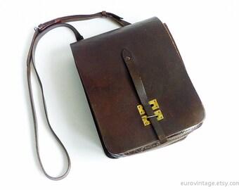 Vintage Brown Leather Shoulder Bag Military Messenger Bag 60s