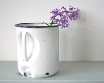 CLEARANCE REDUCTION - Vintage Enamel Irrigator in Classic White with Blue Rim