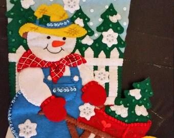 """Finished Felt Christmas Stocking """"Snow Garden 18"""" Stocking"""