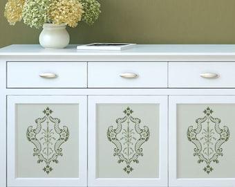 Villa Damask Furniture Stencil for Home Decor and Interior Design