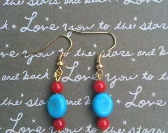 Gorgeous beaded turquoise and red dangle earrings