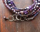 Long Necklace, Double Strand, Wrap Bracelet, Multi Gemstones, Gray Pearl, Art Deco, Downton Abbey, Purple Necklace