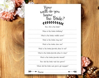 How Well Do You Know The Bride? - Bridal Shower Game *Printable*