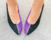Vintage THE JOKER Heels...size 8 womens...halloween. two toned. costume. retro. mod. designer. suede. designer. witch. goth. purple. black