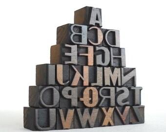 A to Z, 26 Vintage Letterpress Wooden Letters Collection - Mini Series - VM020