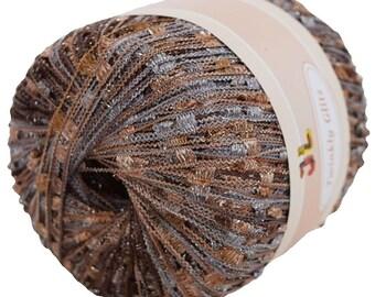 Twinkly Glitz Trellis Yarn col 909 silver sand 150 yrds with lurex free shipping