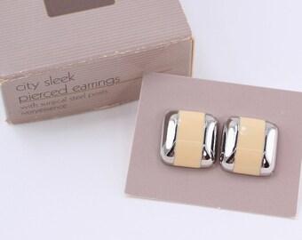 SALE 30 PERCENT Off Vintage Signed 1986 Avon City Sleek Silver Tone Ivoryessence Ivory Enamel Square Pierced Earrings in Original Box NIB