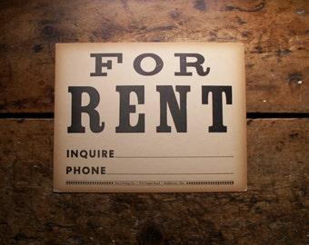 Vintage 'For Rent' Letterpress Sign