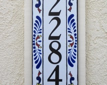 Vertical House Number Tile  Cobalt Blue, Rust, Yellow