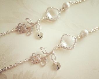 Personalized Initial Bracelet April Birthstone Crystal bracelet Flower bracelet Custom Jewelry Mothers day Gift Flower girl jewelry